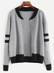 Grey Contrast Trim Sweater Coat