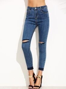 Blue Ripped Fray Hem Skinny Jeans
