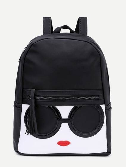 Black Contrast Patch Stitch Detail Zip Pocket Backpack