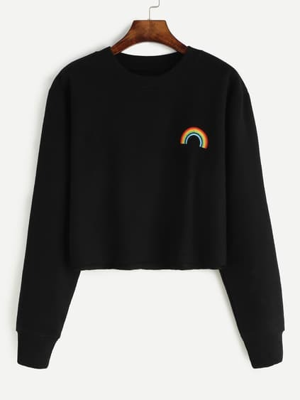 Black Rainbow Embroidered Crop Sweatshirt