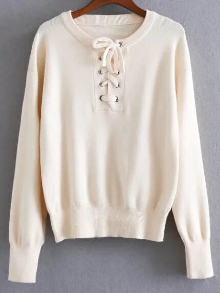 Beige Ribbed Trim Eyelet Lace Up Knitwear
