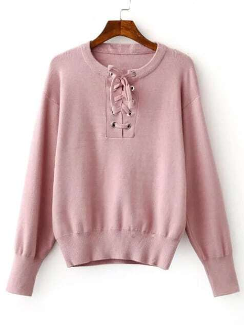 Pink Ribbed Trim Eyelet Lace Up Knitwear