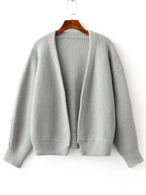 Grey Open Front Drop Shoulder Ribbed Chunky Sweater Coat