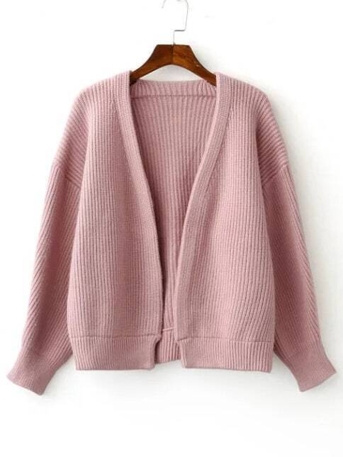 Pink Open Front Drop Shoulder Ribbed Chunky Sweater Coat sweater160818214