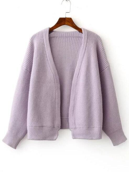 Purple Open Front Drop Shoulder Ribbed Chunky Sweater Coat
