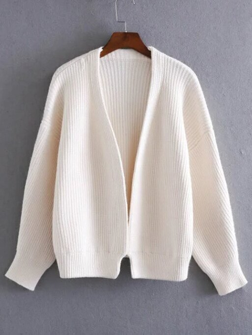 White Open Front Drop Shoulder Ribbed Chunky Sweater Coat