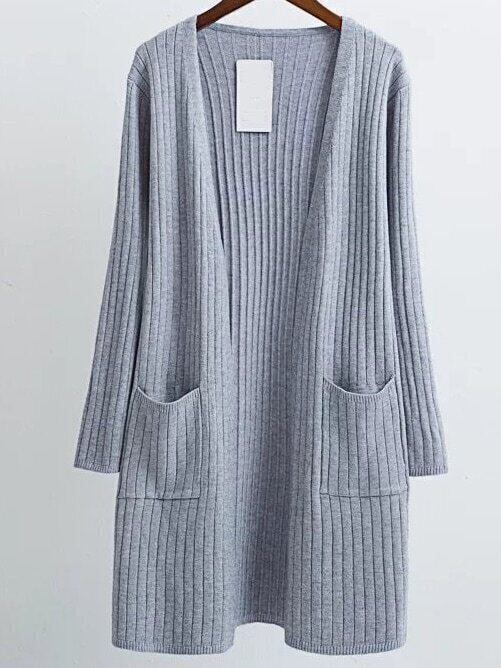 Grey Collarless Ribbed Long Pocket Cardigan sweater160818216