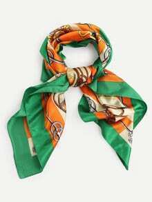 Green Vintage Print Square Scarf
