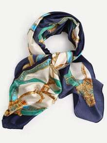 Vintage Royal Carriage Print Square Scarf