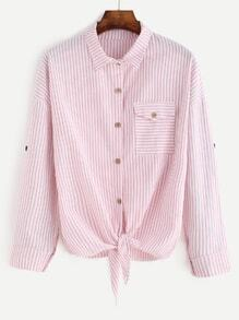 Pink Vertical Striped Knotted Front Button Blouse