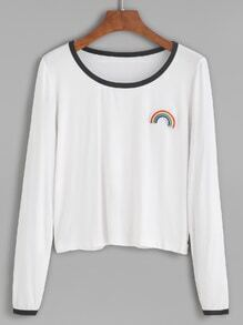 White Contrast Trim Rainbow Embroidered Patch T-shirt