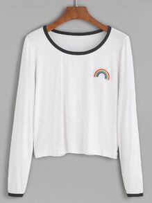 Camiseta ribete en contraste arco iris - blanco