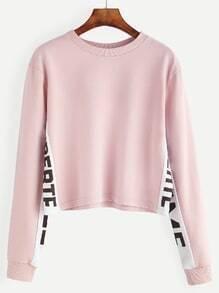 Sweatshirt Buchstaben Druck - rosa