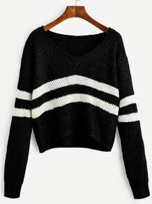 Black Contrast Striped V Neck Crop Sweater