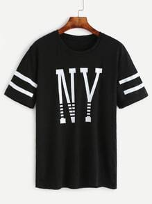 Black Letters Print Varsity Striped T-shirt