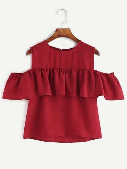 Burgundy Open Shoulder Ruffle Top
