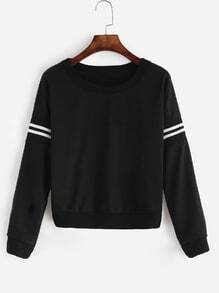 Black Varsity Striped Crop Sweatshirt
