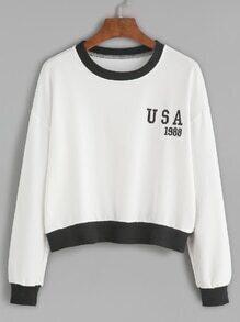kurzes Sweatshirt Stickereien Kontrast Rand - weiß