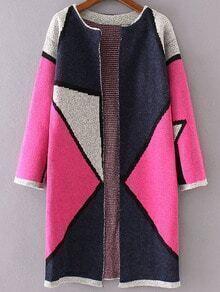 Cárdigan largo de color combinado - rosa