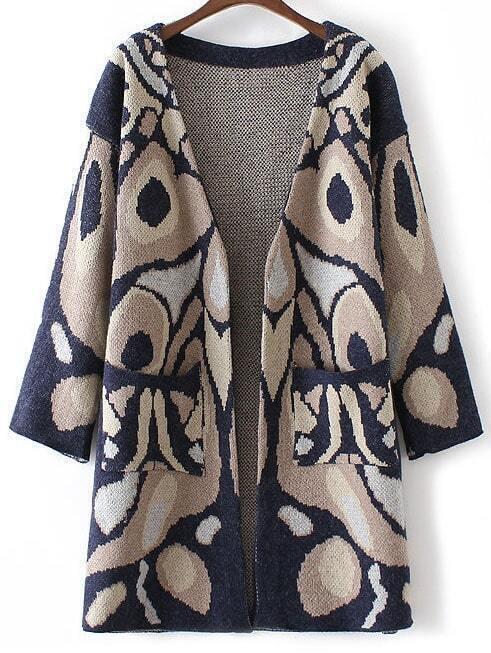 Navy Abstract Pattern Collarless Drop Shoulder Long Cardigan sweater160819207
