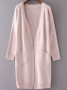 Pink Collarless Ribbed Trim Long Cardigan With Pockets
