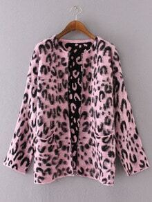 Pink Leopard Print Open Front Sweater Coat With Pockets