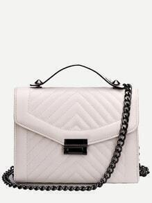White Quilted Envelope Bag With Chain