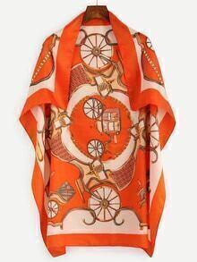 Orange Royal Carriage Print Square Scarf
