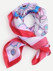 Red Floral Print Small Square Scarf