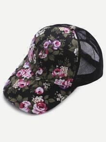 Gorra de malla con estampado floral