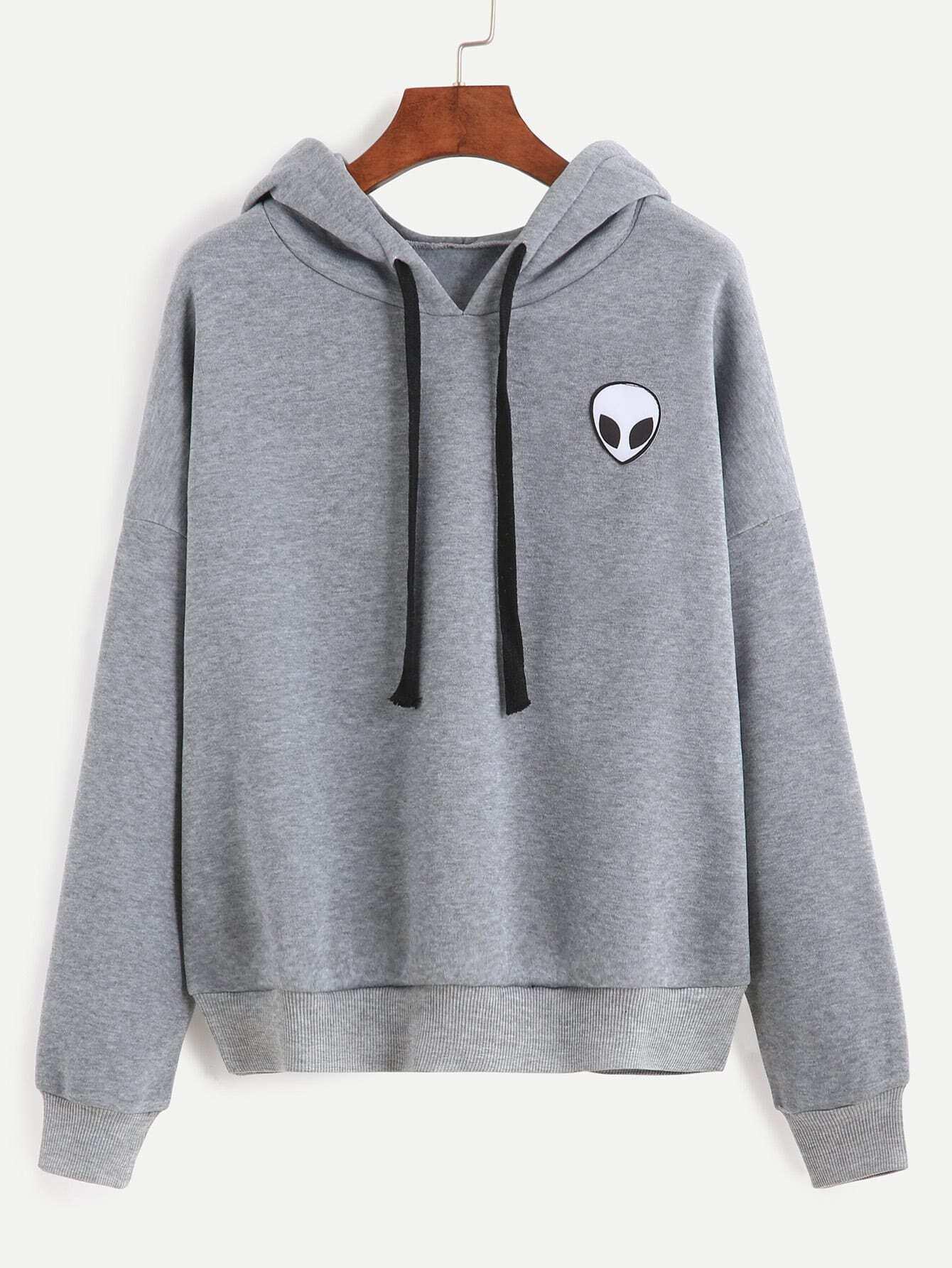 Grey Alien Print Hooded Sweatshirt