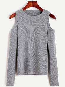 Grey Open Shoulder Knit T-shirt