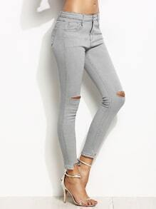 Skinny Jeans mit zerrissenen Design - grau
