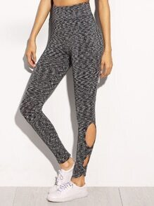 Black and White Cut Out Side High Waist Leggings
