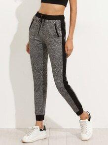 Pantalons taille coulissée avec poches - gris