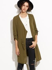 Buy Army Green Draped Collar Drawstring Chiffon Coat