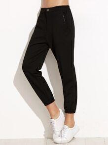 Black Elastic Waist Pocket Sports Pants