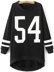 Black Letter Print High Low Sweatshirt Dress