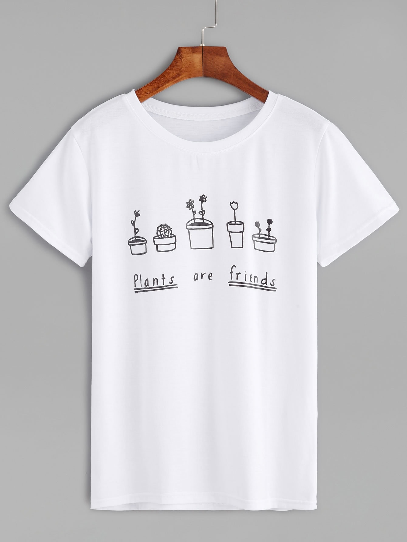White Plants And Letters Print T-shirtFor Women-romwe