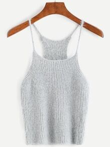 Grey Fuzzy Crop Cami Top
