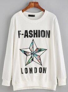 Sweat-shirt imprimé lettres avec broderie motif étoile - blanc