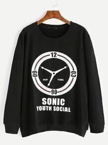 Sweat-shirt imprimé lettres et horloge - noir