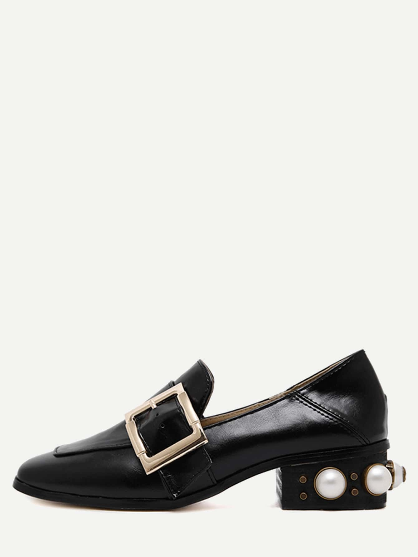 black pu metal buckle pearl embellished shoes