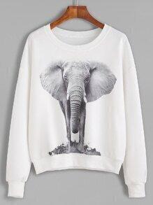 Sudadera estampada de elefante hombro drapeado - blanco