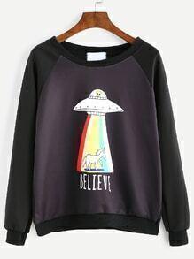 Black UFO Print Raglan Sleeve Sweatshirt