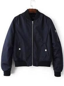 Cazadora de aviador con cremallera y bolsillo - azul marino