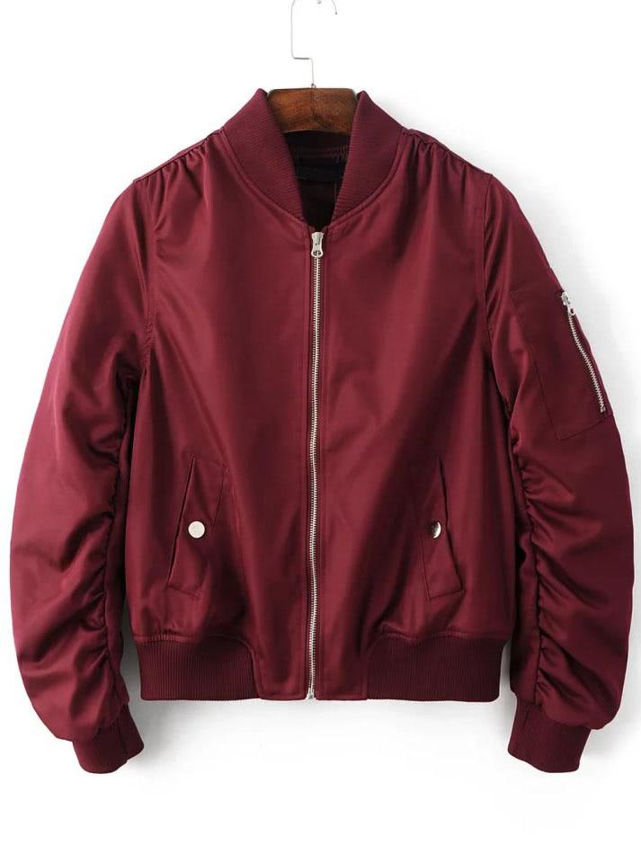 Burgundy Zipper Up Flight Jacket With Pockets
