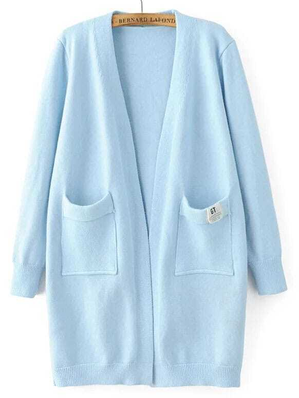 Blue Collarless Ribbed Trim Pocket Georgia Tech Cardigan sweater160822205