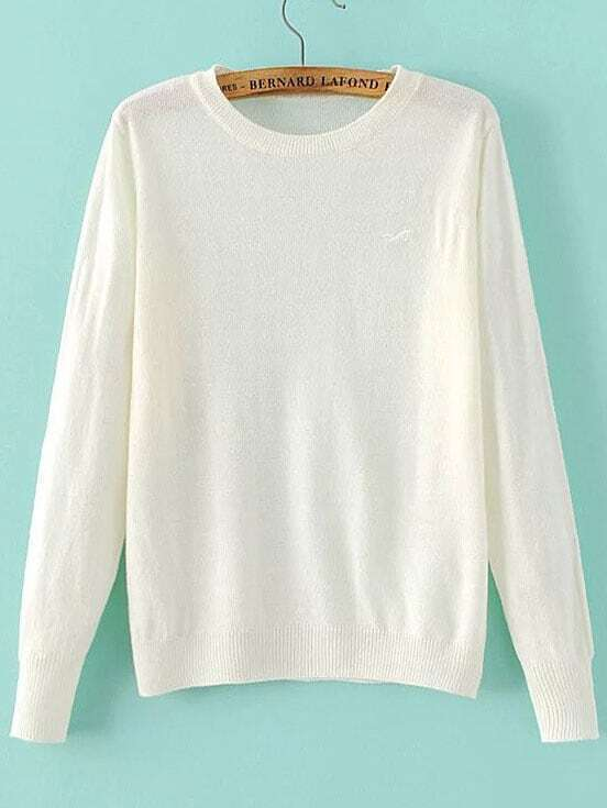 White Seagull Embroidered Ribbed Trim Knitwear sweater160822207