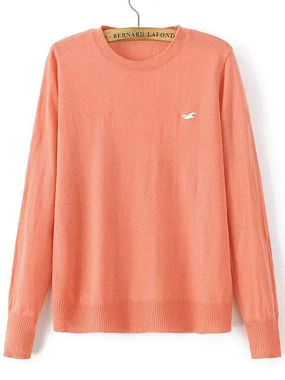 Orange Seagull Embroidered Ribbed Trim Knitwear sweater160822208